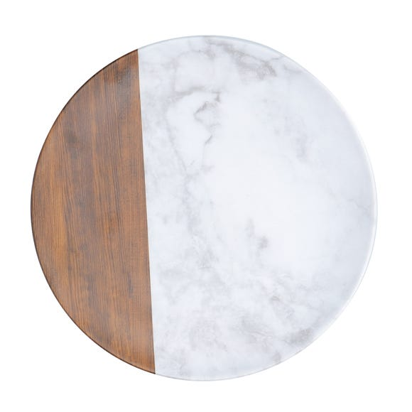 Marble and Wood Dinner Plate Multi-Coloured