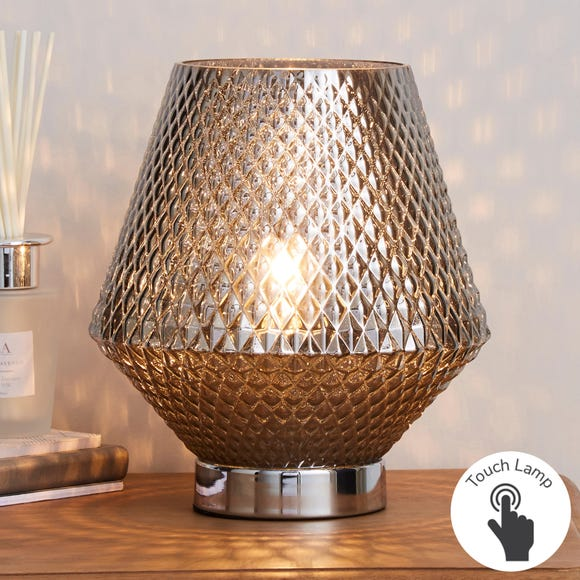 Miah Smoked Glass Touch Dimmable Table Lamp Silver
