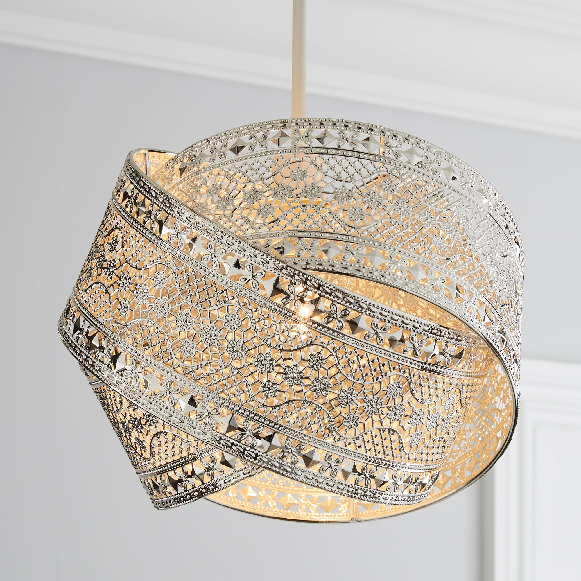 Click to view product details and reviews for Elara Chrome Easy Fit Pendant Silver.