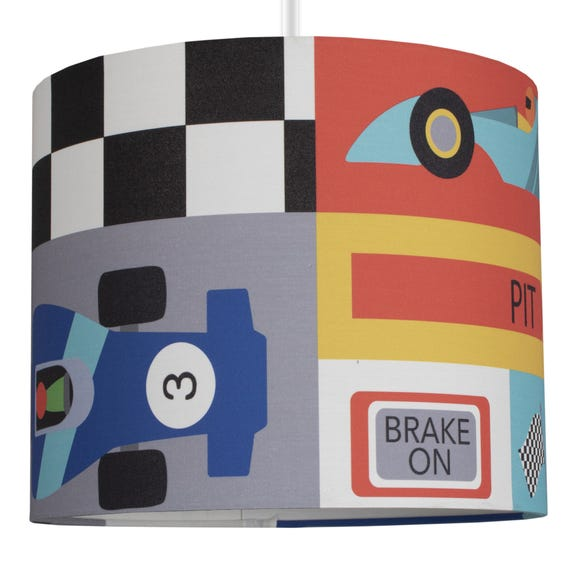 Racing Cars Drum Light Shade MultiColoured