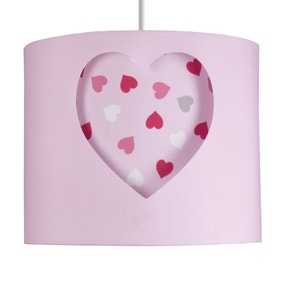 Loveable Hearts Pink Cut-Out Drum Light Shade