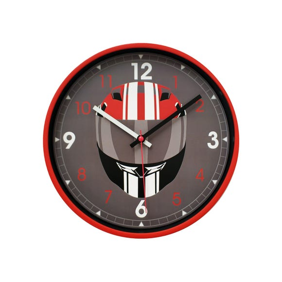 Racing Car Helmet Clock Red