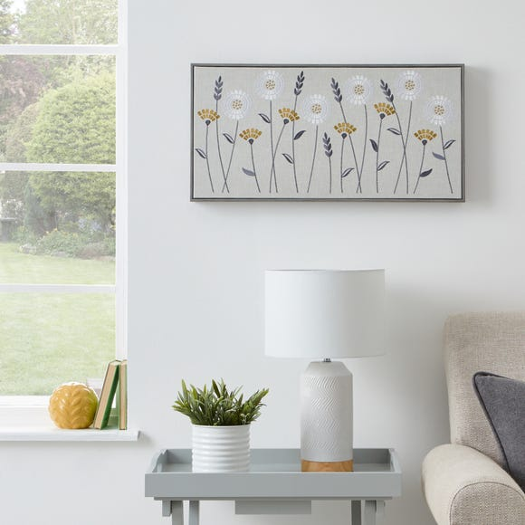 Scandi Floral Embellished Boxed Canvas MultiColoured