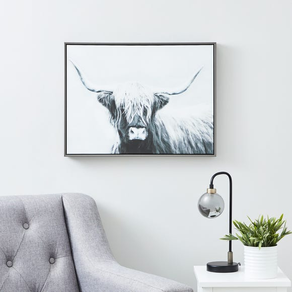 Highland Cow Boxed Canvas Black and white