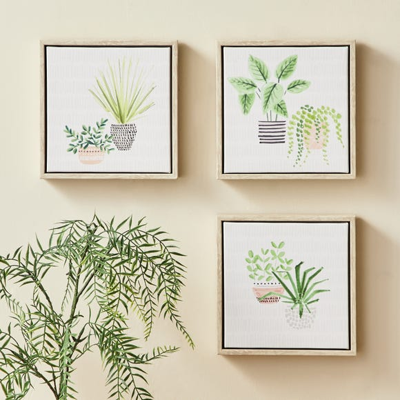 Set of 3 Plants Canvases MultiColoured