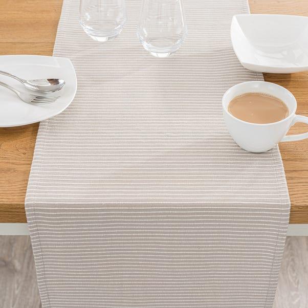 Braxton Stripe Stone Table Runner Natural