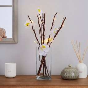 White Orchid Brown Mini Twig Lights