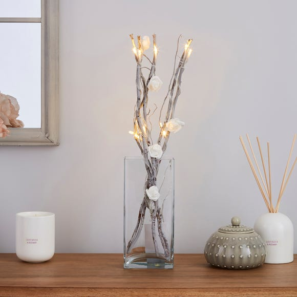 White Rose Silver Twig Lights White