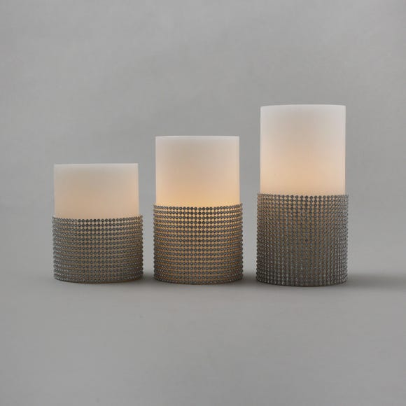 Set of 3 Diamante LED Candles White