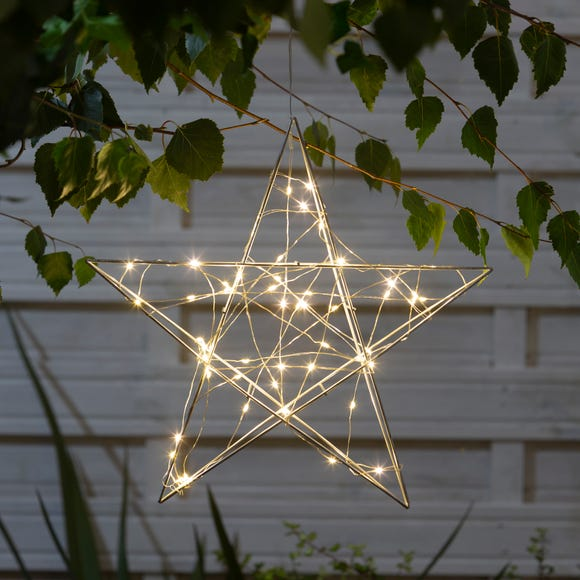 Outdoor Light-Up Metal Star Decoration Silver