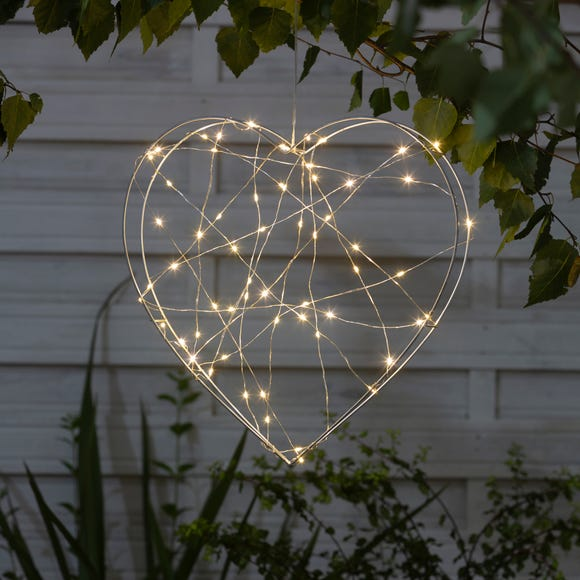 Outdoor Light-Up Metal Heart Decoration Silver