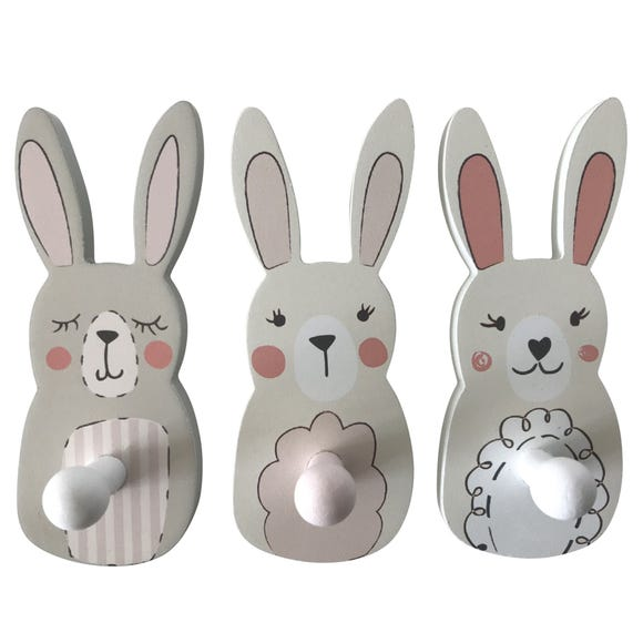 Katy Rabbit 3 Pack Wall Hooks Pink