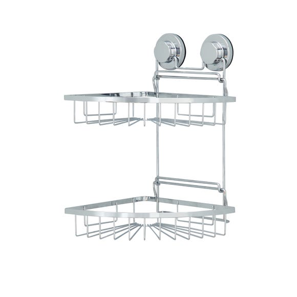 Twist n Lock Corner Two Tier Shower Caddy Silver