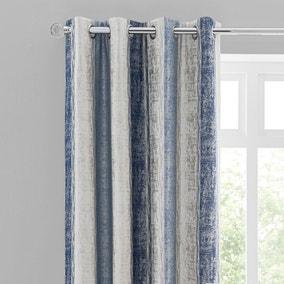 Sadie Stripe Blue Eyelet Curtains