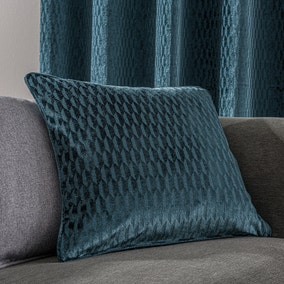 Valencia Velvet Geometric Teal Cushion