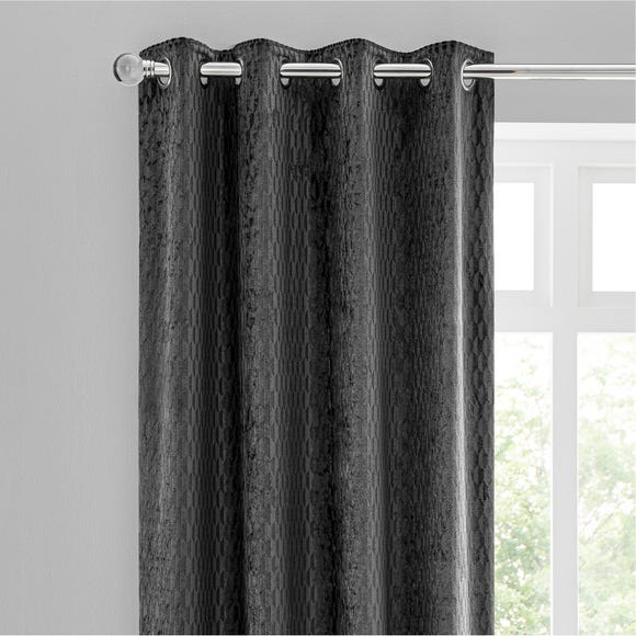 Valencia Velvet Geometric Charcoal Eyelet Curtains  undefined