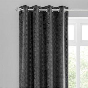 Valencia Velvet Geometric Charcoal Eyelet Curtains