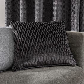 Valencia Velvet Geometric Charcoal Cushion