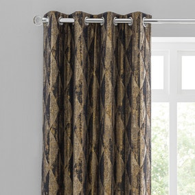 Luxor Metallic Blue Eyelet Curtains