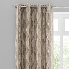 Luxor Metallic Champagne Eyelet Curtains