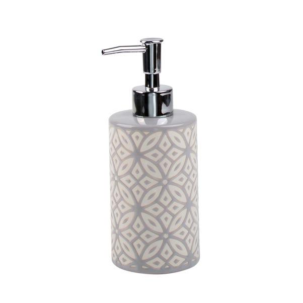 Geo Tile Grey Ceramic Lotion Dispenser Grey