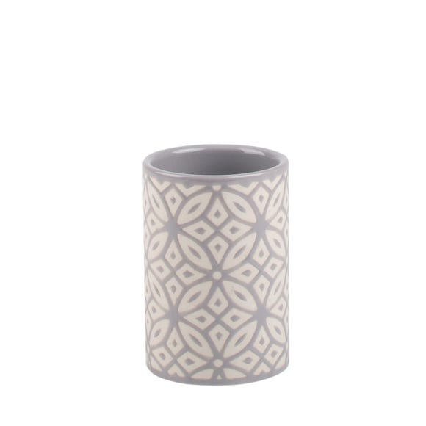 Geo Tile Grey Ceramic Tumbler Grey