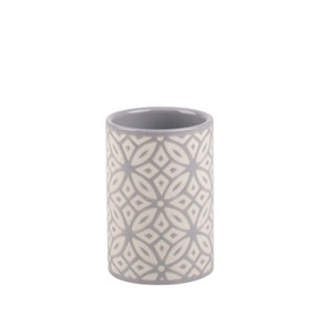 Geo Tile Grey Ceramic Tumbler