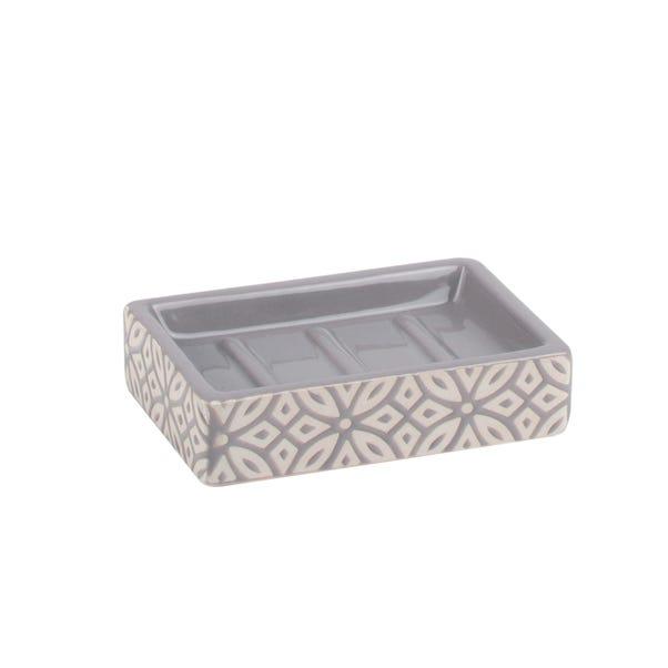 Geo Tile Soap Dish Grey