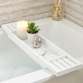 Marble Effect Bamboo Bath Rack