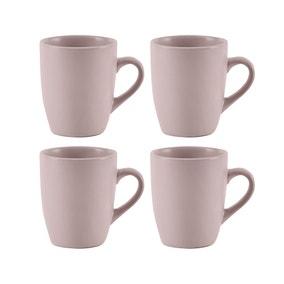 Stoneware Pack of 4 Pink Mugs