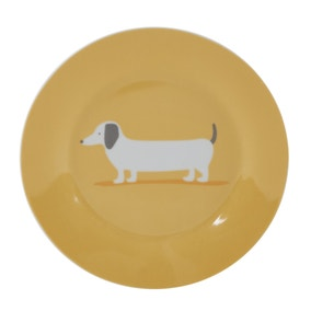 Bertie Sausage Dog Ochre Yellow Side Plate