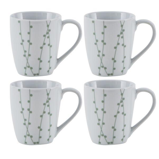 Sprig Pack of 4 Mugs Grey