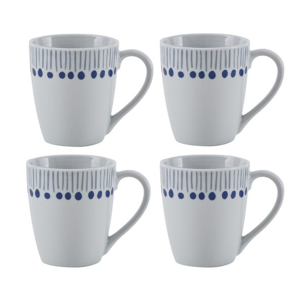Coastal Stripe Pack of 4 Mugs Grey