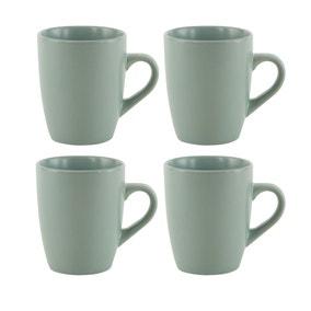 Stoneware Pack of 4 Green Mugs