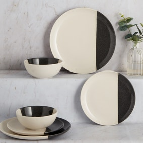 Elements Dipped Charcoal 12 Piece Dinner Set