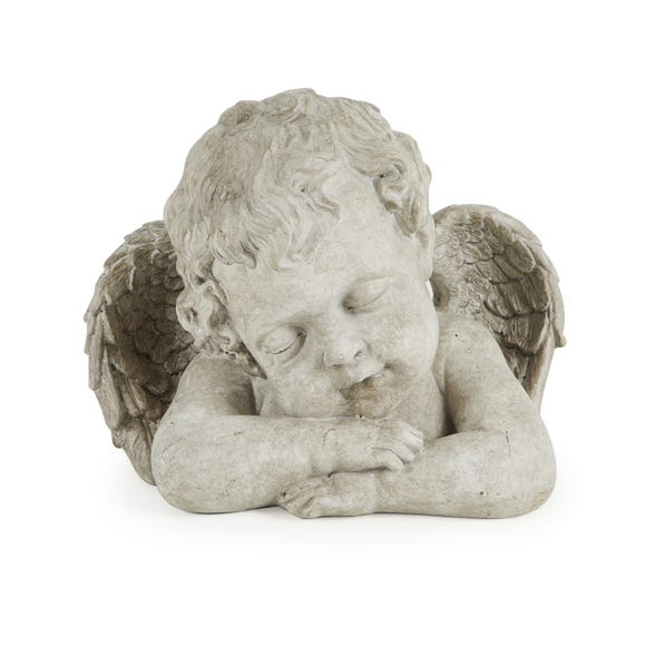 Resin Angel Cherub Ornament Cream