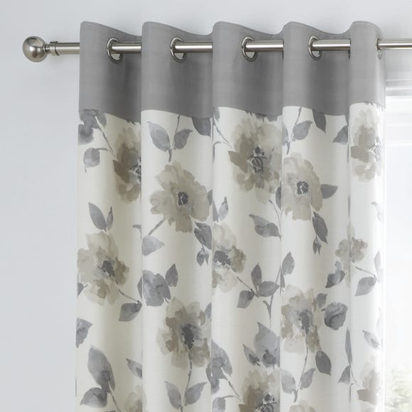 Adriana Natural Floral Eyelet Curtains  undefined