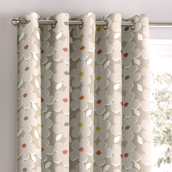 Aura Natural Ditsy Floral Eyelet Curtains  undefined