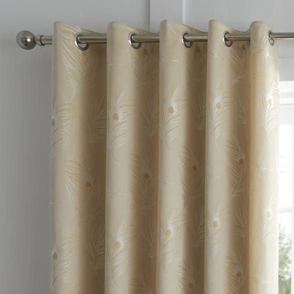 Feather Natural Jacquard Eyelet Curtains  undefined