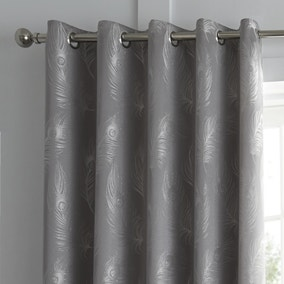 Feather Silver Jacquard Eyelet Curtains