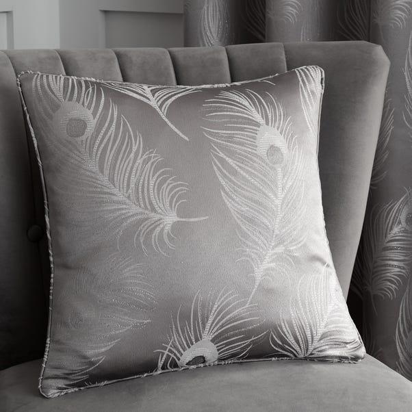 Feather Silver Jacquard Cushion Silver