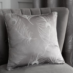 Feather Silver Jacquard Cushion