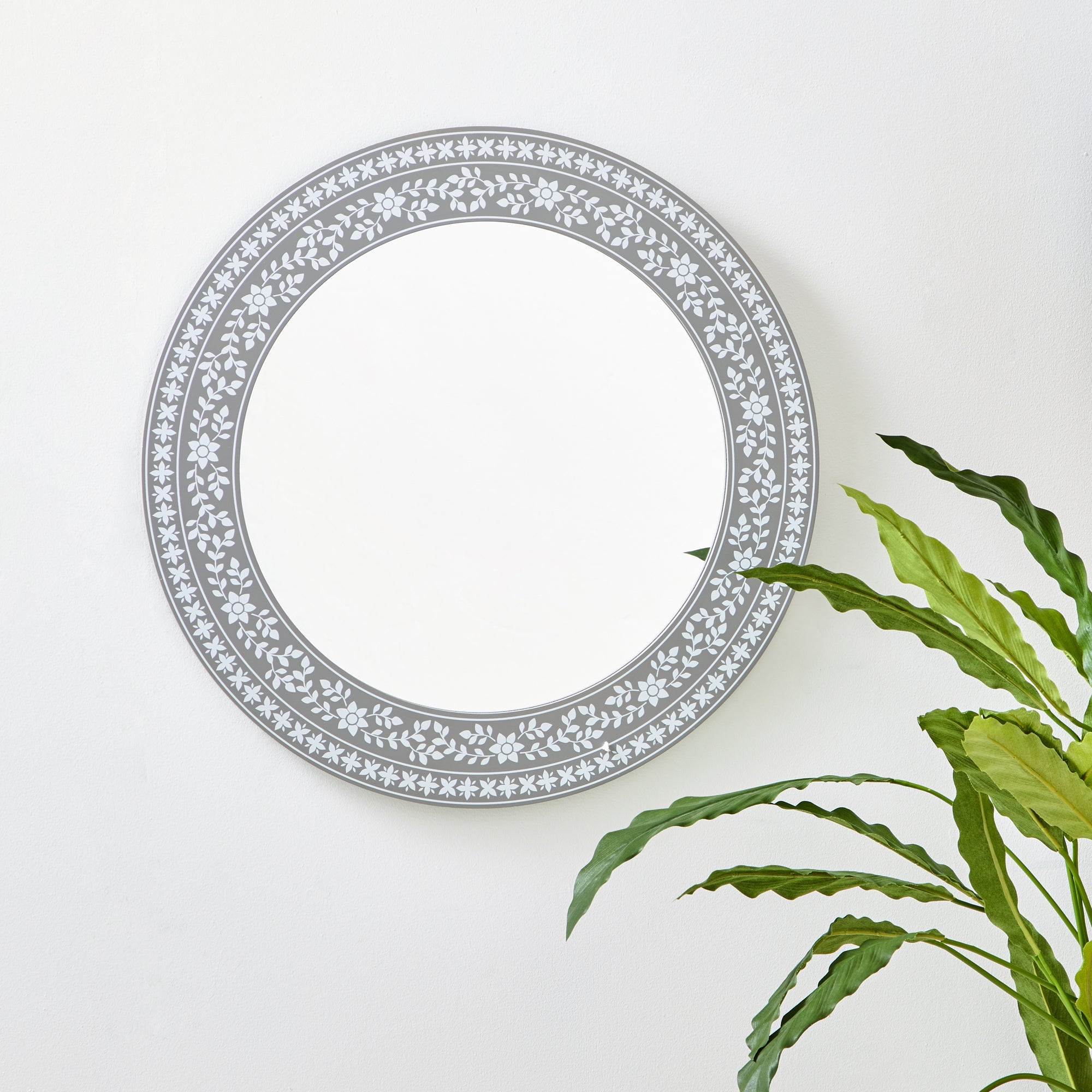 Click to view product details and reviews for Patterned Round Wall Mirror 50cm Grey Grey And Blue.
