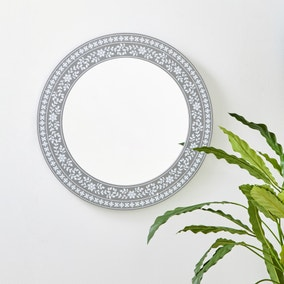 Patterned Round Wall Mirror 50cm Grey