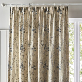 Meadow Embroidered Seafoam Pencil Pleat Curtains
