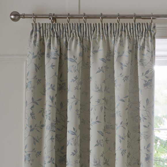 Trailing Bird Jacquard Duck Egg Pencil Pleat Curtains Duck Egg (Blue) undefined