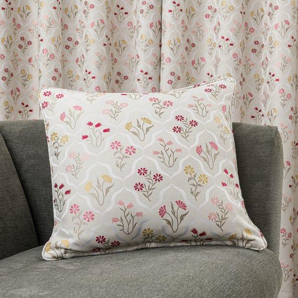 Fleur Floral Jacquard Pink Cushion Pink