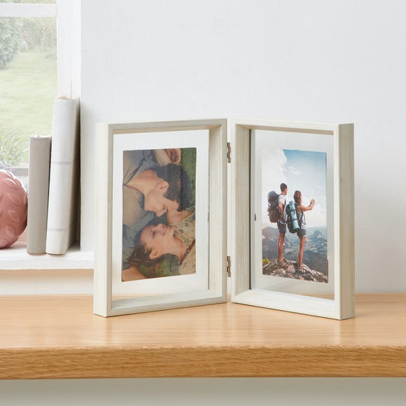 White Wash Angled Floating Dual App Photo Frame White