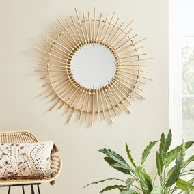 Rattan Wall Mirror 81cm Natural