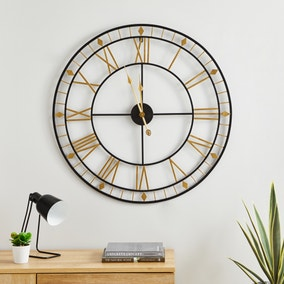Brass Skeleton 80cm Wall Clock Gold